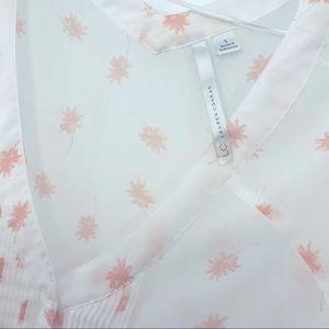 Lauren Conrad sheer white palm subtle blush print